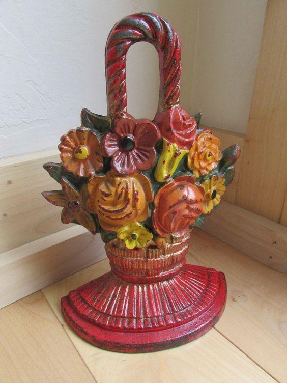 Antique Farm Fresh 9 Quot Tall Cast Iron Flower Basket Door
