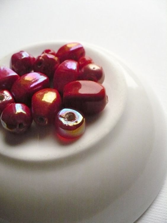 Red Ceramic Beads by lacokine on Etsy, $2.00