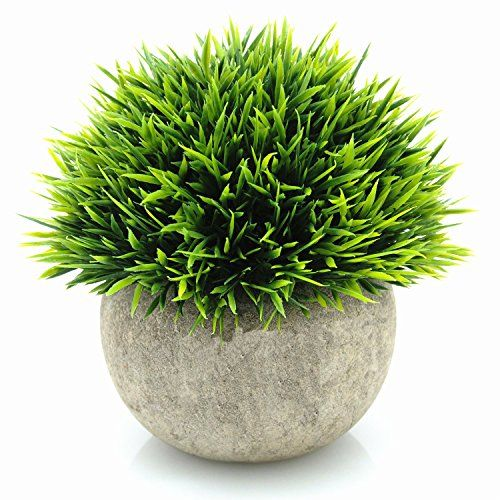 Yocome Artificial Fake Faux Mini Plastic Green Grass Of Plants With Round Clay Pots For Small Fake Plants Artificial Potted Plants Artificial Plants