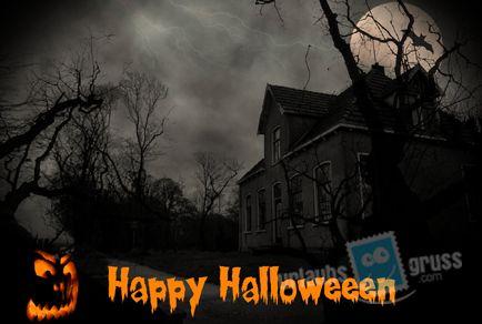 Halloween Postkarte mit Geisterhaus. Alle Urlaubsgruss.com Halloween Vorlagen findet Ihr in unserer Vorlagen Gallerie auf der Urlaubsgruss.com Webseite und den Urlaubsgruss Apps für iPhone und Android