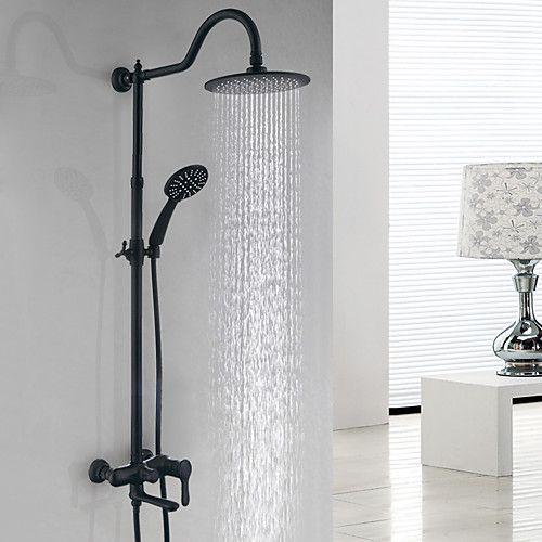 Shower System Set Rainfall Matte Black Shower System Ceramic