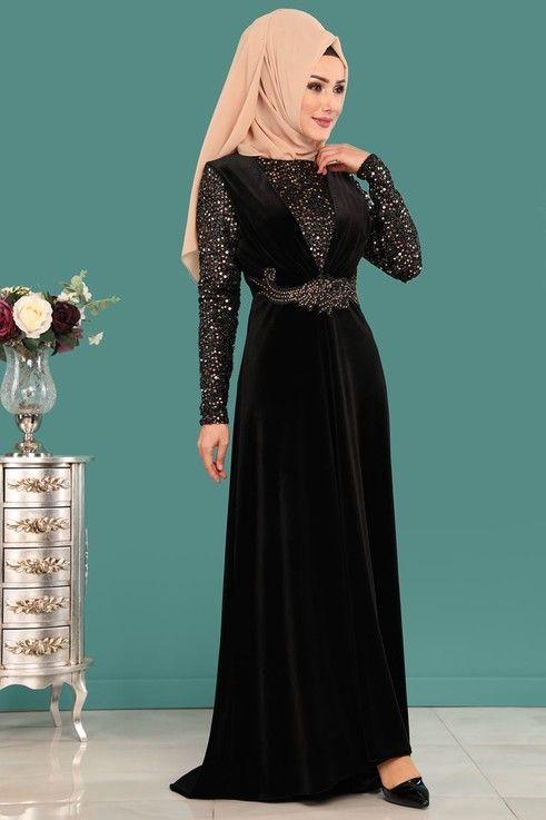 Modaselvim Abiye Pul Ve Tas Detayli Kadife Abiye Ygs6152 S Siyah Dresses Fashion Pakistani Fashion