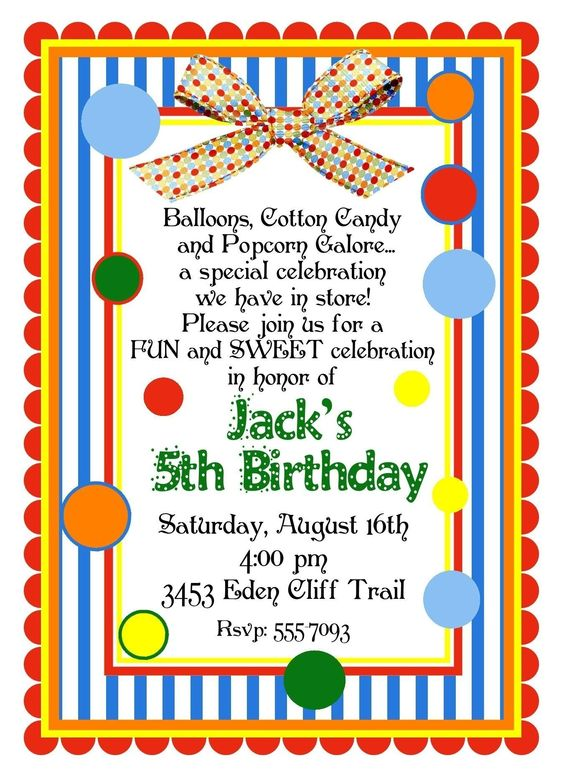 Personalized invitations circus carnival birthday for Dots and stripes party theme