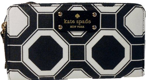 Kate Spade Wellesley Large Black White Zip Around Neda Wallet