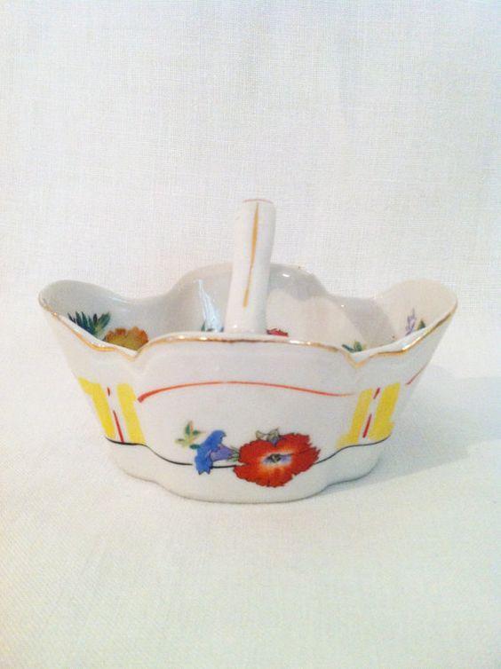 Vintage porcelain ceramic basket Japan with red blue by Comforte, $10.00