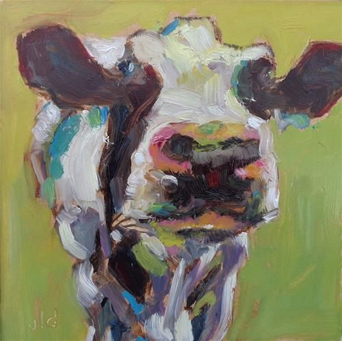 """Daily Paintworks - """"Cow 51 Call me curvy"""" - Original Fine Art for Sale - © Jean Delaney"""