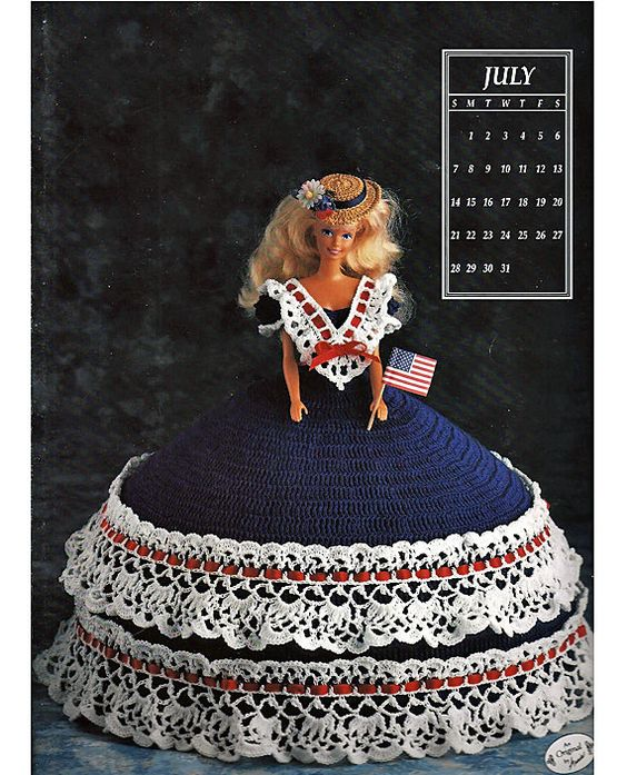 Miss July 1991 Annies Calendar Bed Doll Society  Fashion Doll  Crochet Pattern  Annies Attic 7407.