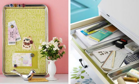 using cookie sheets as magnet boards or drawer organizers