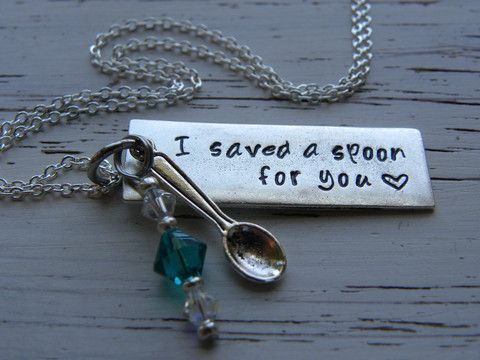 I saved a spoon for you - necklace - spoonie - silver bar - hand stamp - Whispering Metalworks