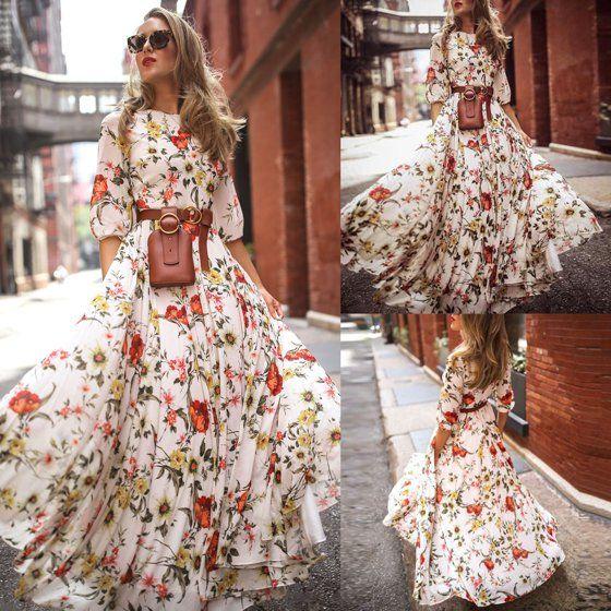 Casual Long Sleeve Floral Beach Dress Maxi Boho Sundress for Kid Girls Holiday