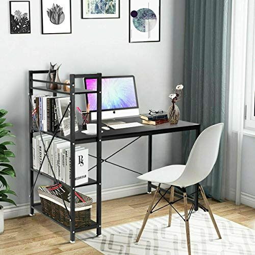 Heavens Tvcz Workstation Table Simple Design Style 4 Layer Shelves For Storage Space Home Office Desk Modern With Home Office Desks Storage Shelves Office Desk