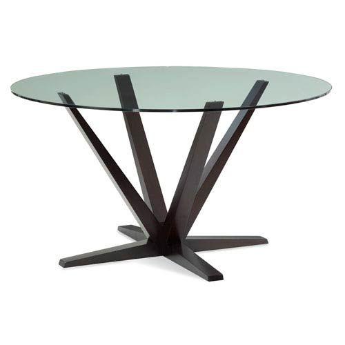 Saloom Furniture Aura 60 Inch Chocolate Round Glass Top Dining