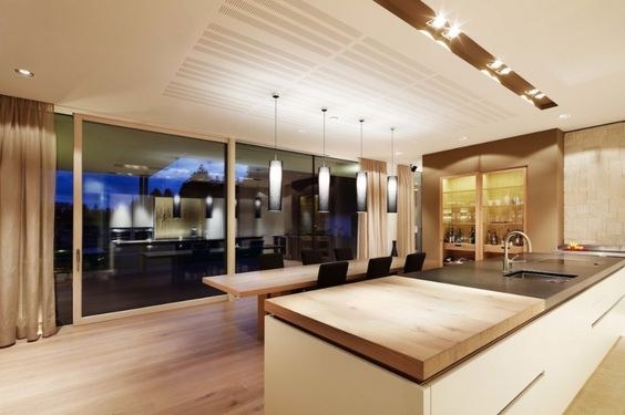 moderne offene küche mit großer kochinsel moderne offene modernes ...