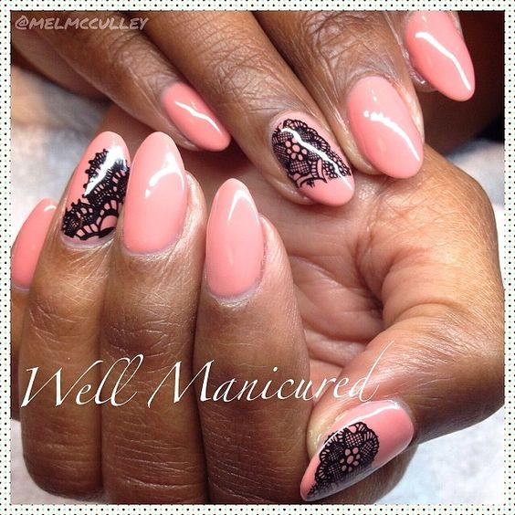 Lacy hottness! Gel color: #TanRose by @LeChat Nail Care #Nobility & nail tattoos by #dashingdiva. #wellmanicured #nails #nailart #lace