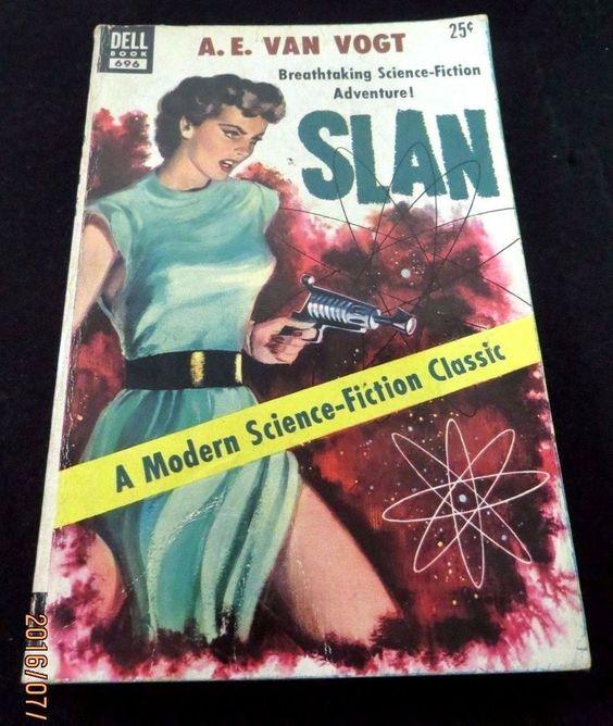SLAN A.E. VAN VOGT VINTAGE PAPERBACK DELL POCKETBOOK 1950 S SCI-FI CHEESECAKE