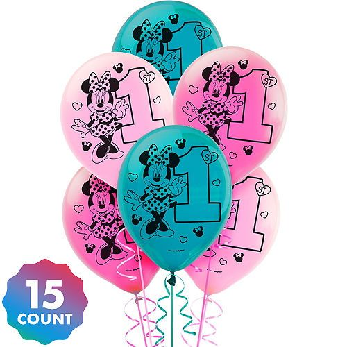 """15ct Disney Mickey Mouse 1st Birthday Latex Balloons Party Supplies 12/"""""""