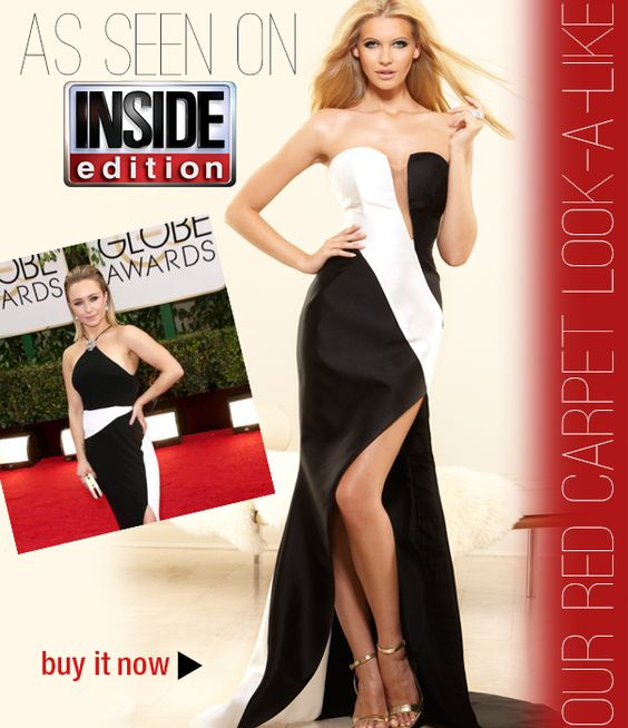 red carpet look-a-like from camille la vie inspired by hayden panettiere black and white tom ford dress from the golden globes 2014