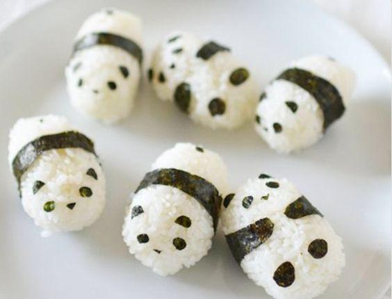 Rice pandas, the black is seaweed :)