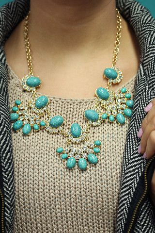 Turquoise Statement Necklace   UOIOnline.com: Women's Clothing Boutique