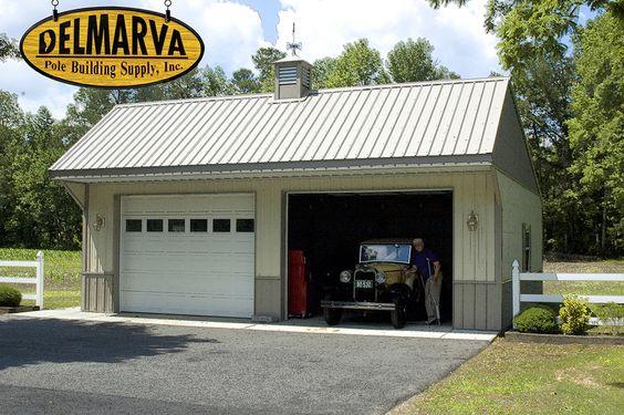 Pole buildings car garage and garage on pinterest for 2 car pole garage