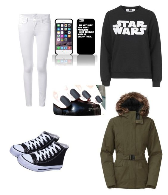 """""""Cold asf """" by lovecloths ❤ liked on Polyvore featuring Frame Denim, Tee and Cake and The North Face"""