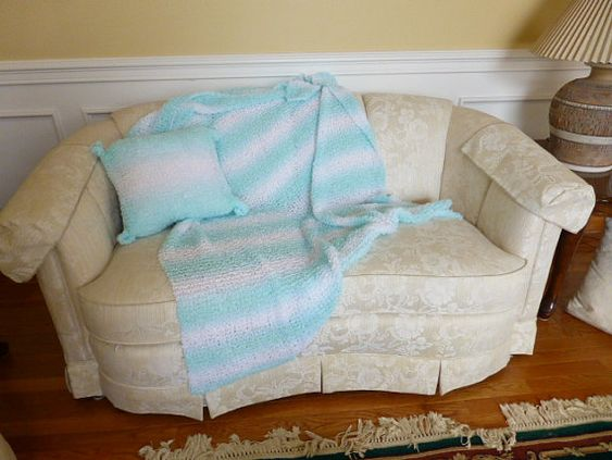 Hey, I found this really awesome Etsy listing at https://www.etsy.com/listing/213058669/bluewhite-striped-throw-with-matching