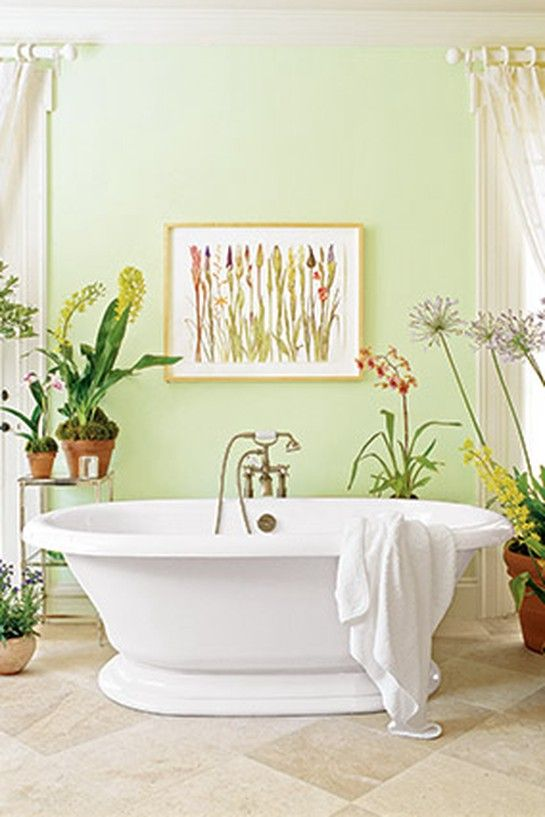 12 Ways To Enliven Your Home With Green Green Bathroom Light Green Bathrooms Bathroom Colors