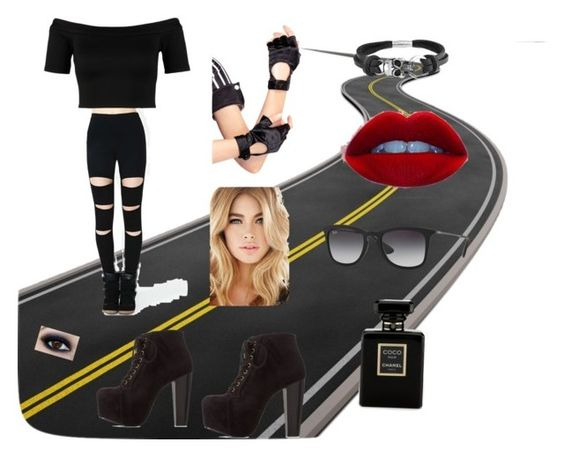 """""""Biker Chick by my sister"""" by deeniemrl ❤ liked on Polyvore featuring mode, Miss Selfridge, Charlotte Russe, Ray-Ban, Leg Avenue, Bling Jewelry et Chanel"""