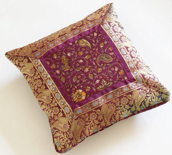 Plum and Gold Sari Border Mini Cushion Cover
