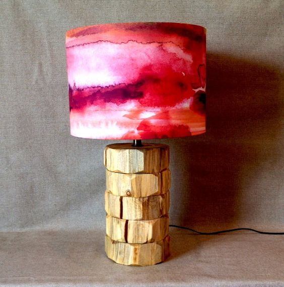 Handmade Wall Lamp Shades : Handmade Modern Drum Lamp Shade in Watercolor by JoDesignCo For the Home Pinterest ...