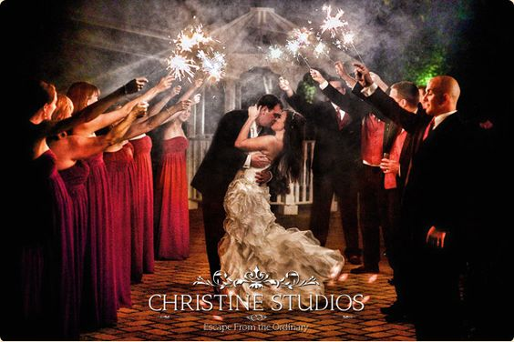 A firework farewell from the bridal party!