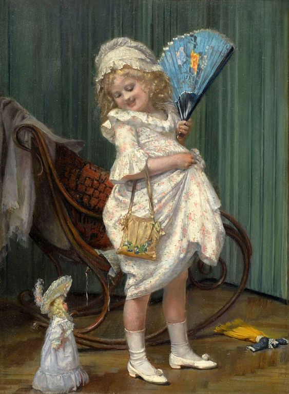 Hedwig Mechle-Grosmann (1857-1928) — Young  Girl With  Her Doll  (955x1300)