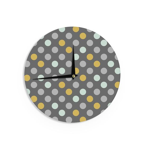 Kess InHousePellerina Design 'Minty Polka' Gray Wall Clock