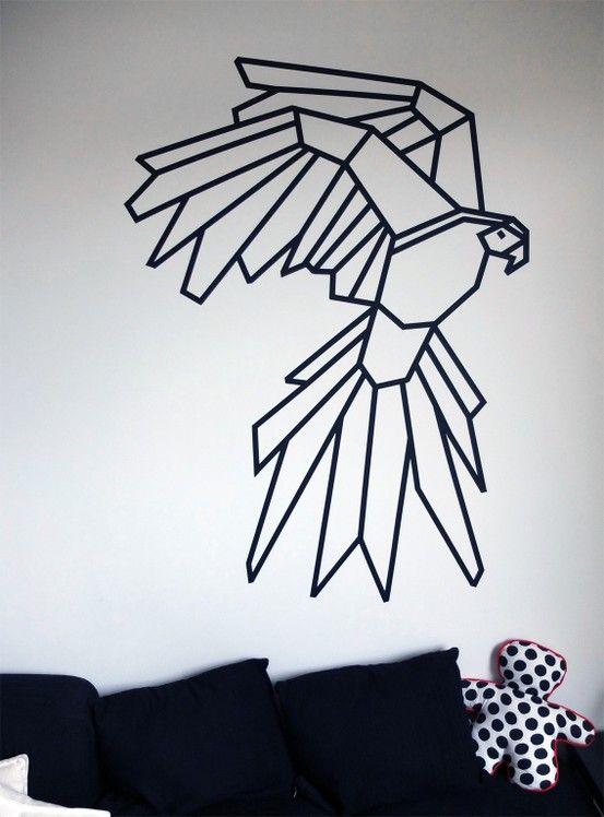 On adore les décos à base de masking tape, affirmées et super contemporaines! My Parrot Corner + Masking Tape #kutchetcouture #wall #washi