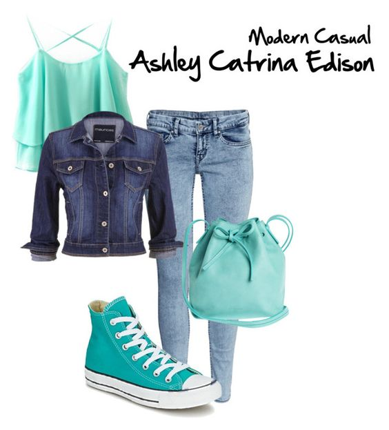 """Ashley Catrina Edison: Modern Casual // Kazia"" by fictional-fandom-freak ❤ liked on Polyvore featuring H&M, maurices, Converse, Mint & Rose, modern and casual"
