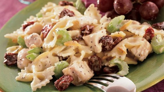 Sweetened dried cherries, toasted almonds and bow tie pasta turn ordinary chicken salad into something pretty special.