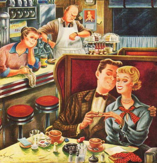 rogerwilkerson:Young Love After Closing, art by Constantin Alajalov. Detail from Saturday Evening Post cover, July 15, 1950.: