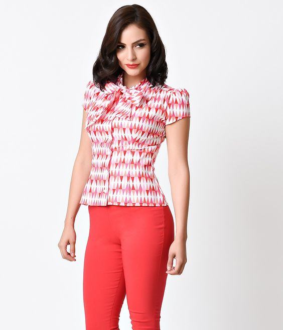 Retro Pink & White Harlequin Cap Sleeve Estelle Blouse