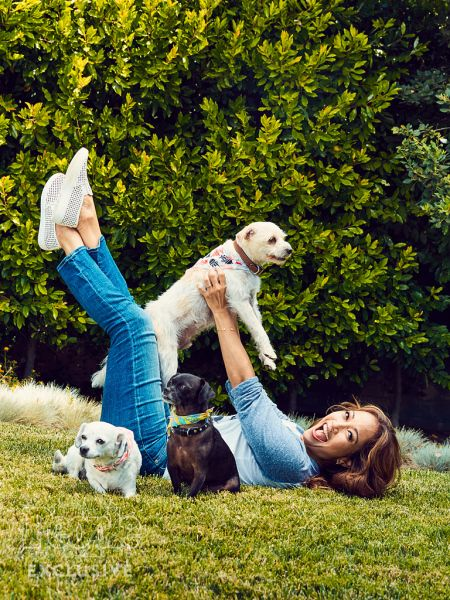 Carrie Ann Inaba with her dogs