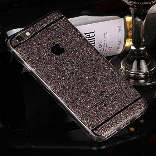 iPhone 6 Plus Case, UnnFiko Beauty Luxury Hybrid Bling Glitter Soft TPU Gel Shiny Sparkling with Candy Back Plate Cover Case for Apple iPhone 6 Plus (5.5 Inch) (Gray, iPhone 6 Plus)
