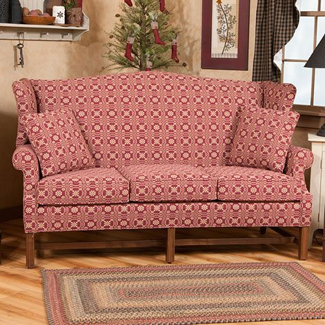 Wingback Sofa Upholstered Furniture, Country Primitive Upholstered Furniture