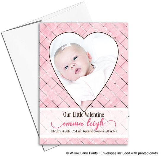 Valentine birth announcement card – Printed Birth Announcements
