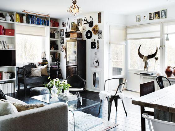 Black Floors: Interior Design, Coffee Tables, Living Rooms, Industrial Style, Interior Inspiration, Room Design