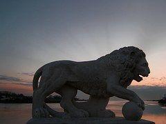 Löwe, Skulptur, Sonnenuntergang