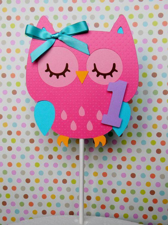 Colorful Owl Birthday Party Smash Cake Topper. $6.00, via Etsy.