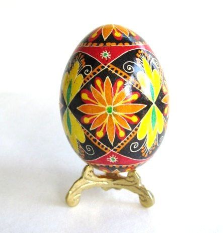 Orange daisy Flowers on Pysanka Ukrainian by UkrainianEasterEggs