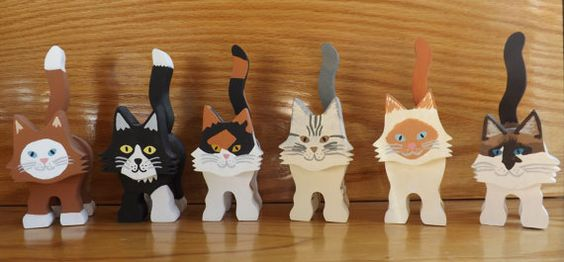 Wooden+Cat+Figurine++Two+Colors+in+Various+by+HeidisCornerShop,+$18.00