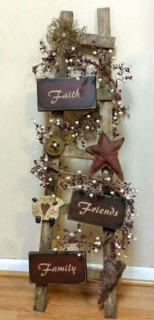 Top Wooden Ladder Wedding Decor Ideas To Diys Fast Chic Easy Christmas Crafts Christmas Diy Primitive Decorating