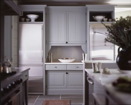 Gray cabinets with black hardware and stone floor   Kitchen ideas ...