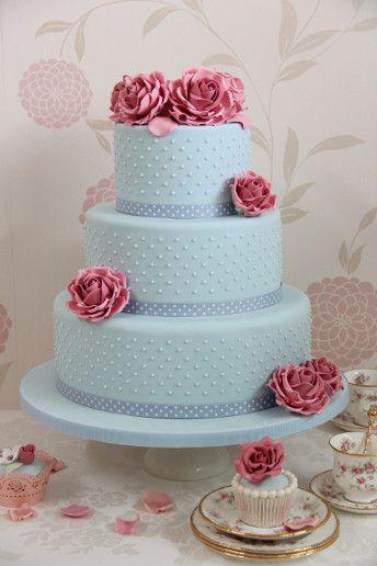 blue tiered wedding cake
